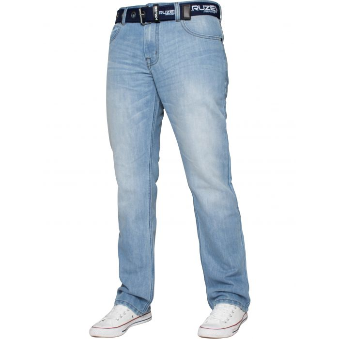 Image for Light blue straight leg belted jeans