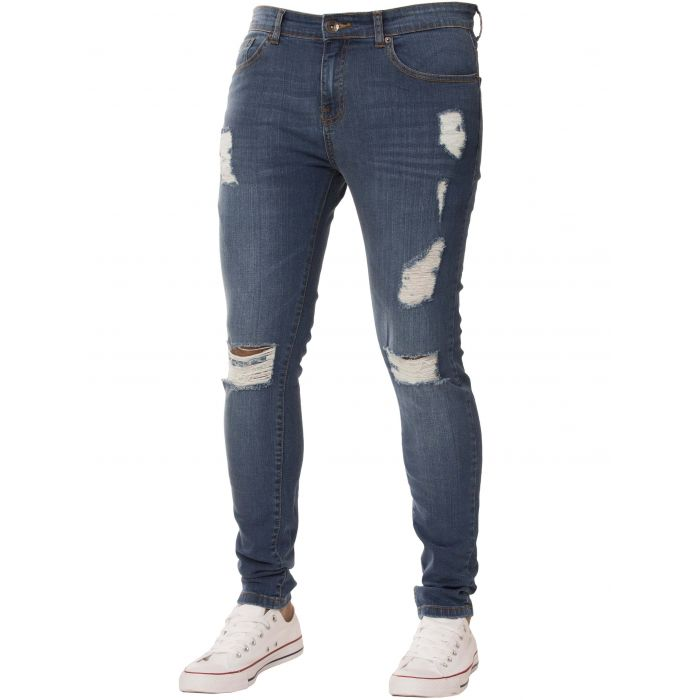 Image for Blue super skinny stretch ripped jeans