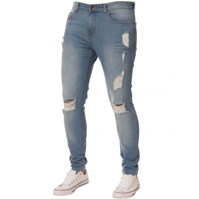 Image for Light blue super skinny stretch ripped jeans