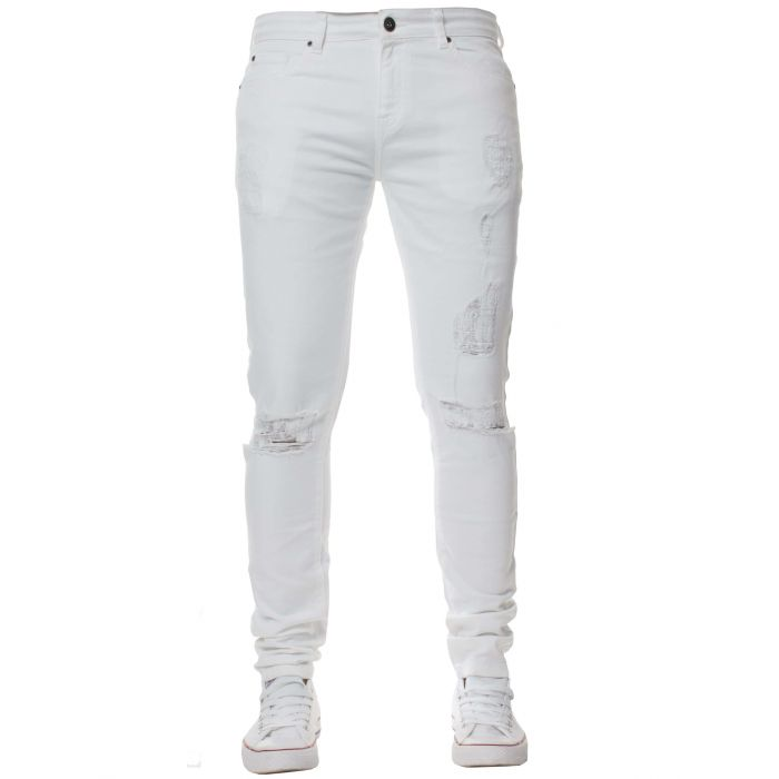 Image for White super skinny stretch ripped jeans
