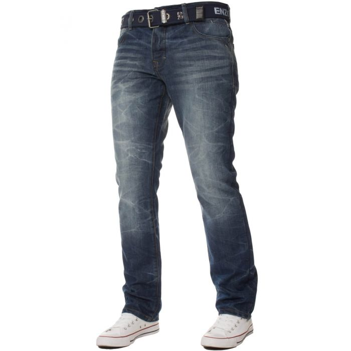 Image for Mens Denim Straight Fit Jeans Mid Stonewash | Enzo Designer Menswear