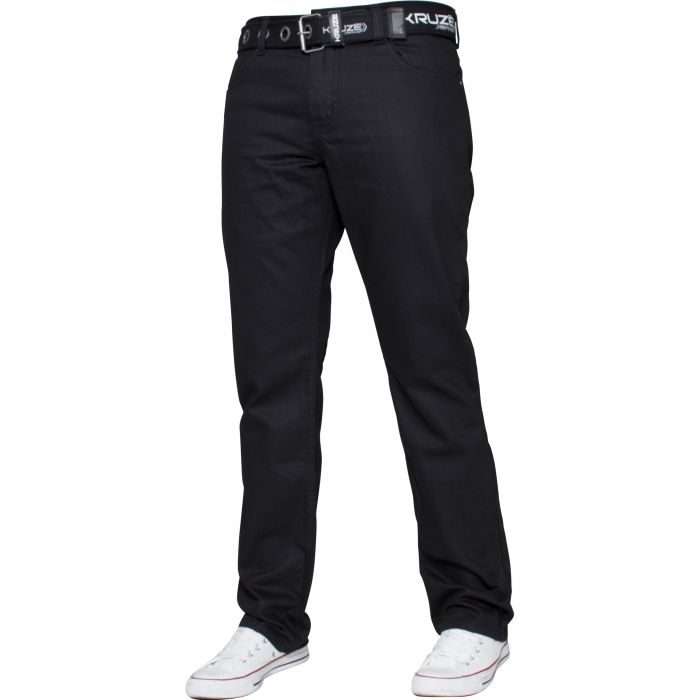 Image for Black straight leg belted jeans