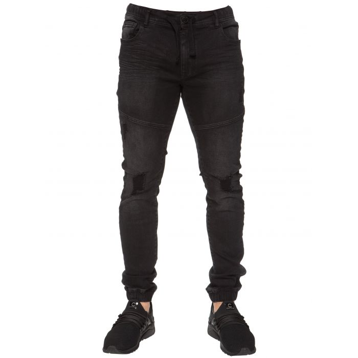 Image for Stretch cuffed black jeans