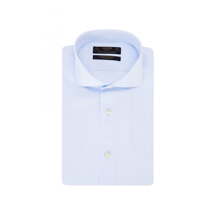 Image for Blue pure cotton classic slim fit shirt