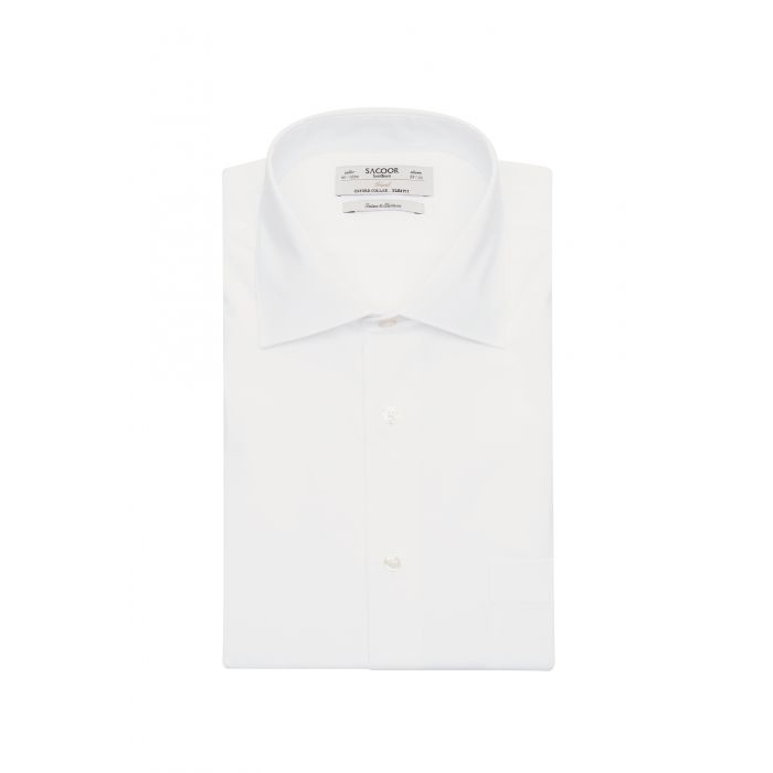 Image for White cotton classic slim fit travel shirt