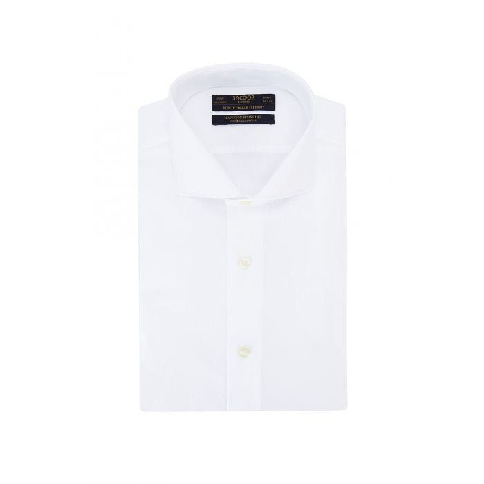 Image for White pure cotton classic slim fit shirt