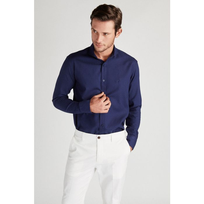 Image for Blue pure cotton slim fit sport shirt