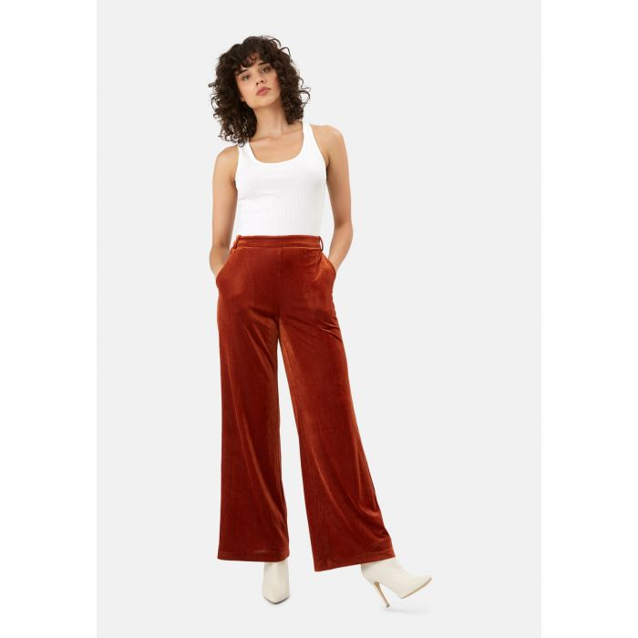 Image for JIC Straight Leg Velvet Trousers in Rust Brown