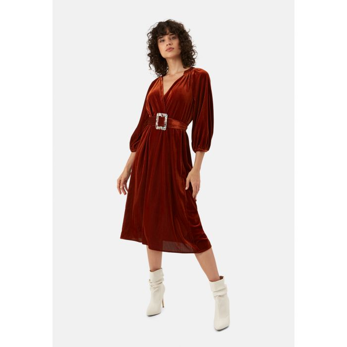 Image for Belt Up rust brown v-neck midi dress