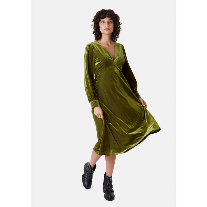Image for Pulse green velvet midi v-neck dress