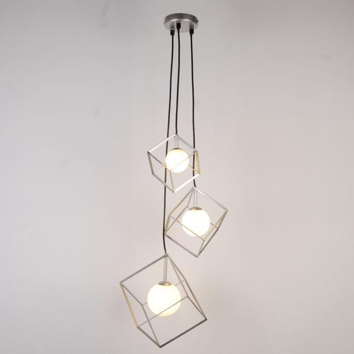 Image for Villem 3 Light Silver Pendant Ceiling Light