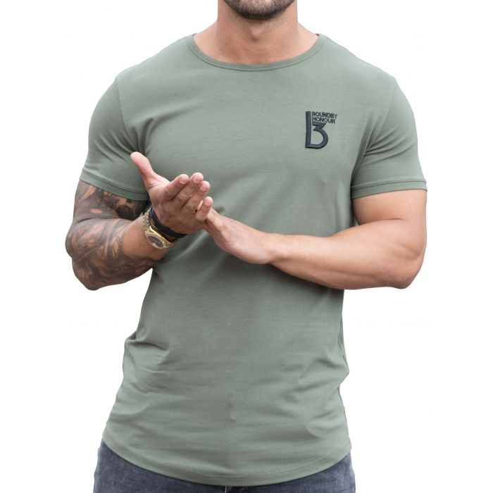 Image for Khaki muscle fit curved hem T-shirt