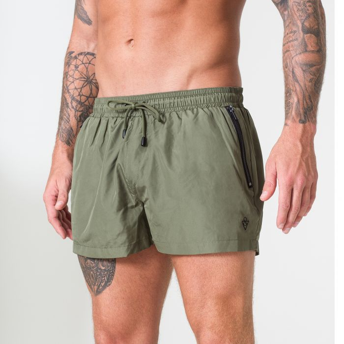 Image for Signature Khaki Swim Shorts with Matte Black Detailing