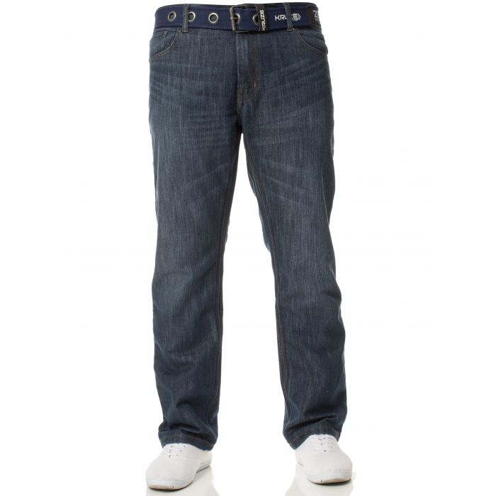 Image for Blue straight leg belted jeans