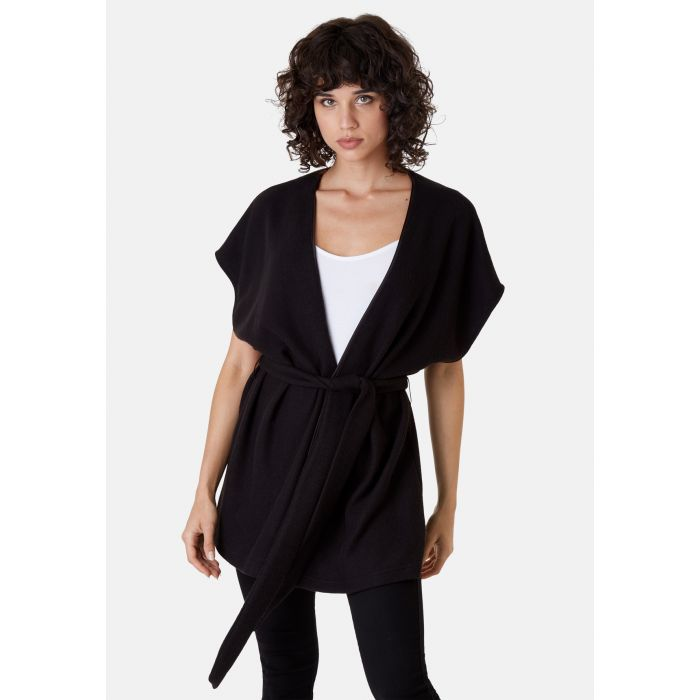 Image for Poncho Sleeveless Wrap Cardigan in Black