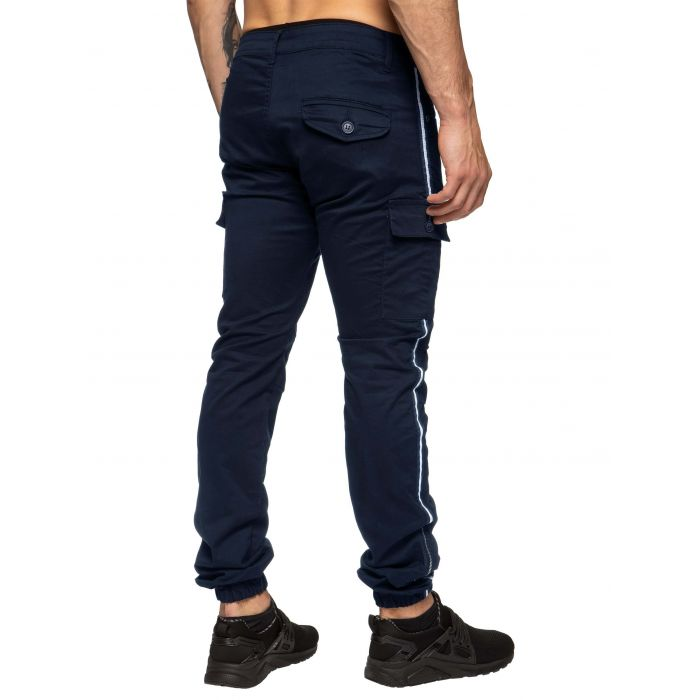 Image for Men's Cuffed Cargo Combat Trousers with Side Stripe