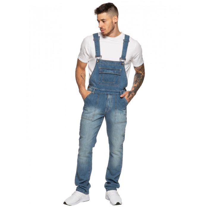 Image for Designer Mens Blue Fashionable Denim Overall Dungarees | Enzo Designer Menswear