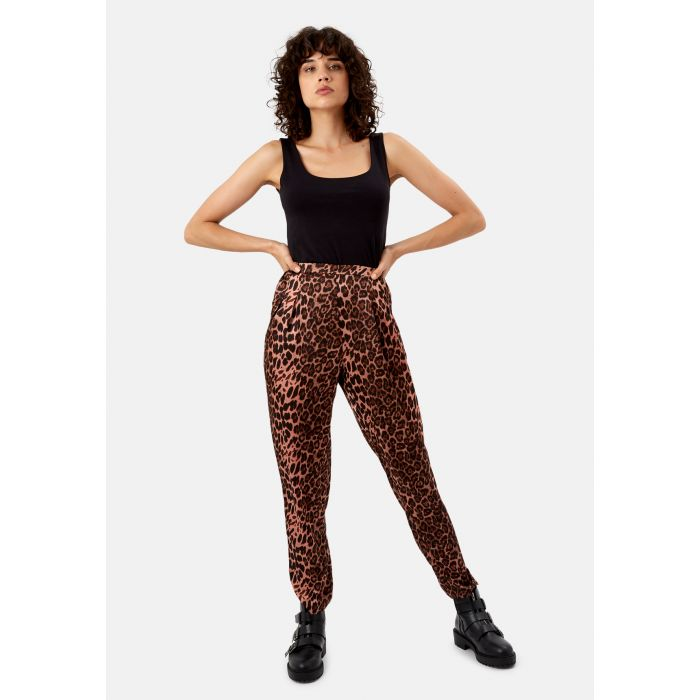 Image for Animal Print Satin Tapered  Trousers in Pink