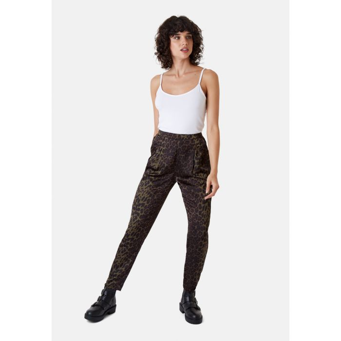 Image for Tapered Animal Print Satin Trousers in Green
