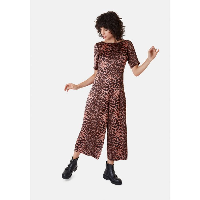 Image for Leopard Print Short Sleeve Bianca Jumpsuit in Pink