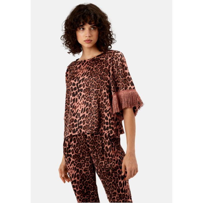 Image for Leopard Print Satin Fringe Sleeve Top in Pink
