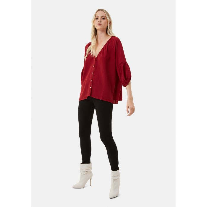Image for Dolores Long Sleeve Top in Wine Red