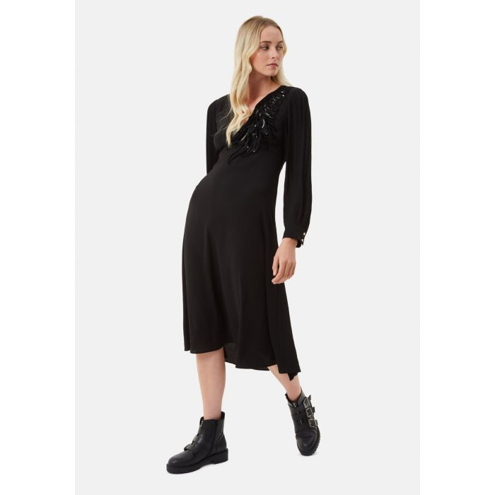 Image for Black Swan Applique Long Sleeve Midi Dress in Black