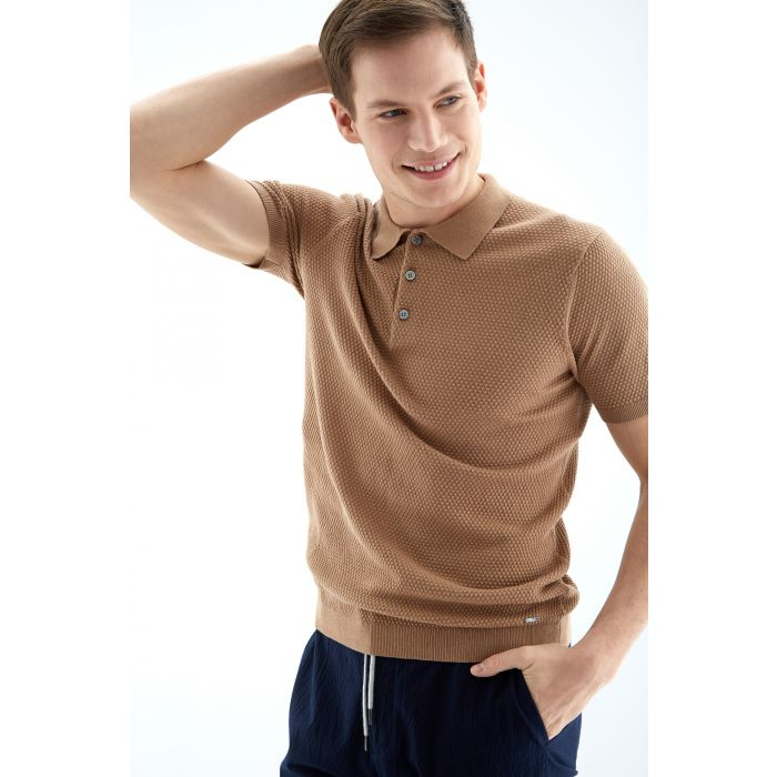 Image for Mens camel pure cotton textured polo shirt