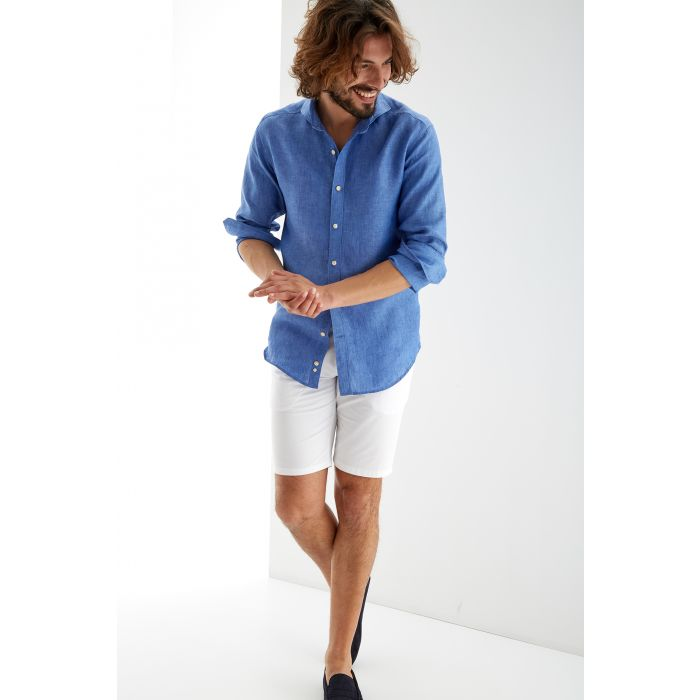 Image for Blue blue linen plain slim fit sports shirt