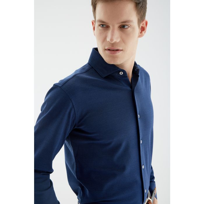 Image for Blue piquet knit shirt