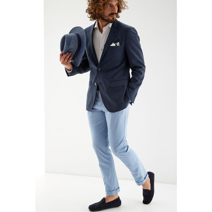 Image for Mens blue pure wool checked slim fit classic blazer