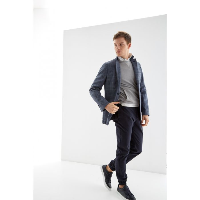 Image for Mens blue cotton and linen blend prince of wales slim fit classic blazer