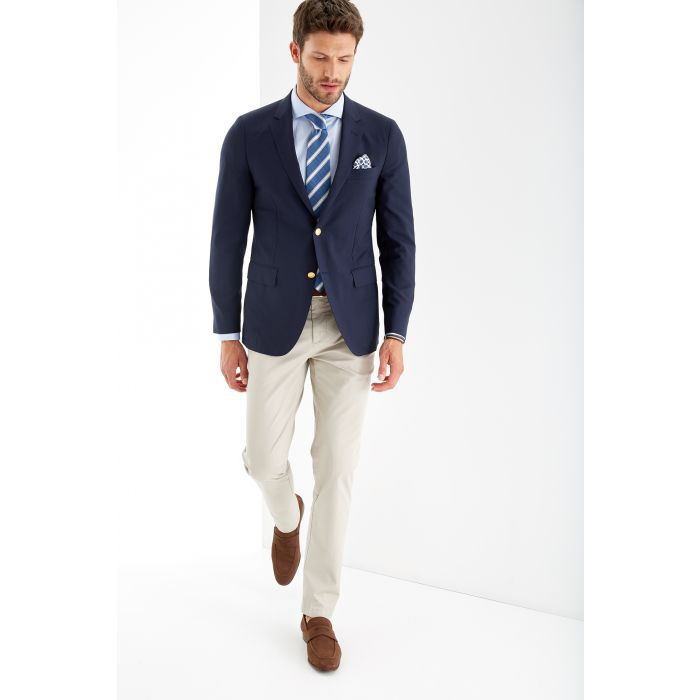 Image for Mens blue pure wool slim fit blazer