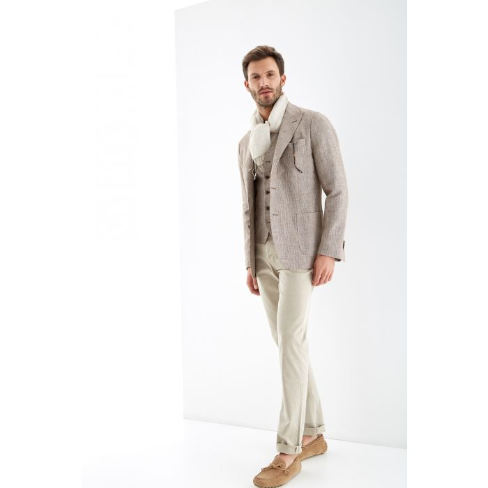 Image for Pied de poule brown pure linen classic blazer