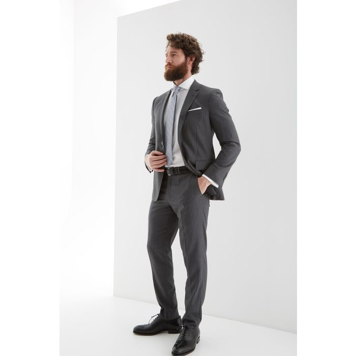 Image for Mens grey pure wool striped slim fit suit