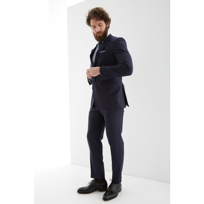 Image for Mens blue pure wool striped slim fit suit