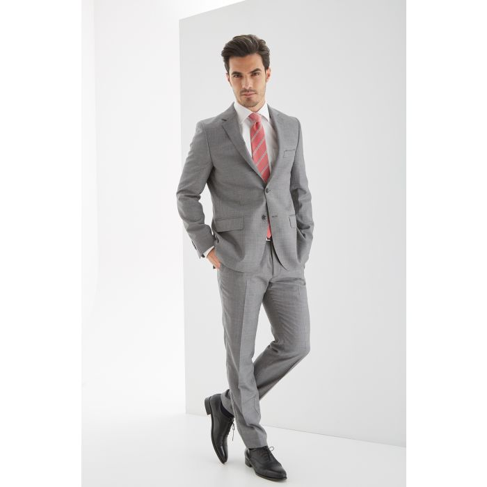Image for Mens birdeye grey pure wool slim fit classic suit