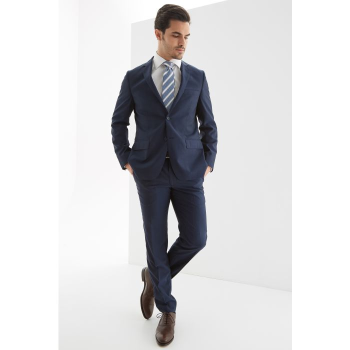 Image for Mens blue wool and silk blend slim fit classic suit