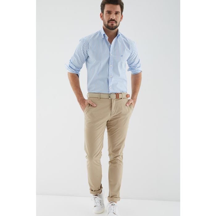 Image for Mens beige cotton chino trousers