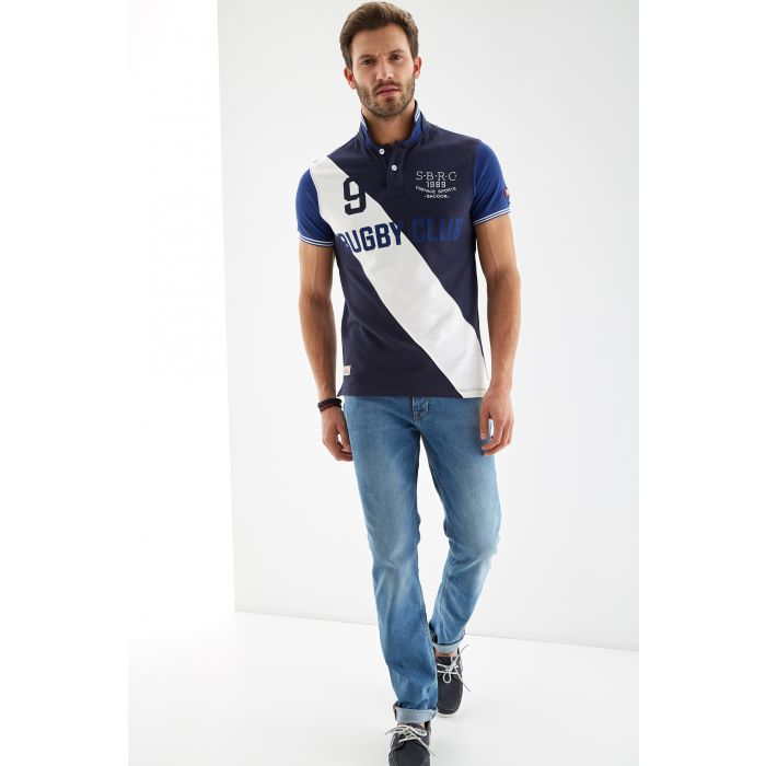 Image for Mens blue pure cotton sports piquet polo shirt