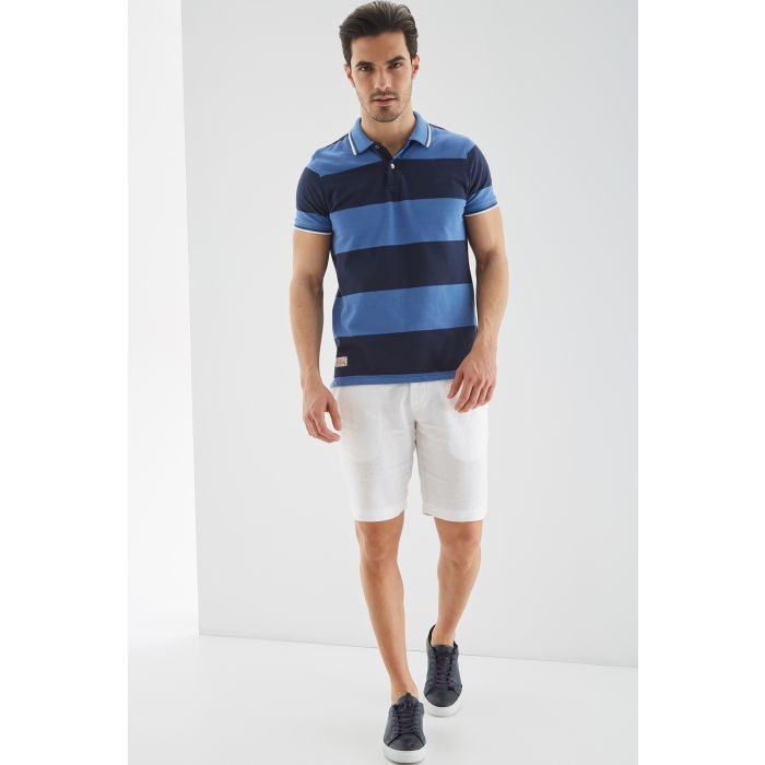 Image for Mens blue pure cotton striped piquet polo shirt