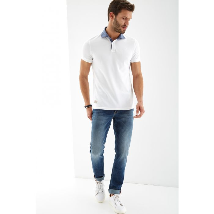 Image for Mens white pure cotton piquet polo shirt