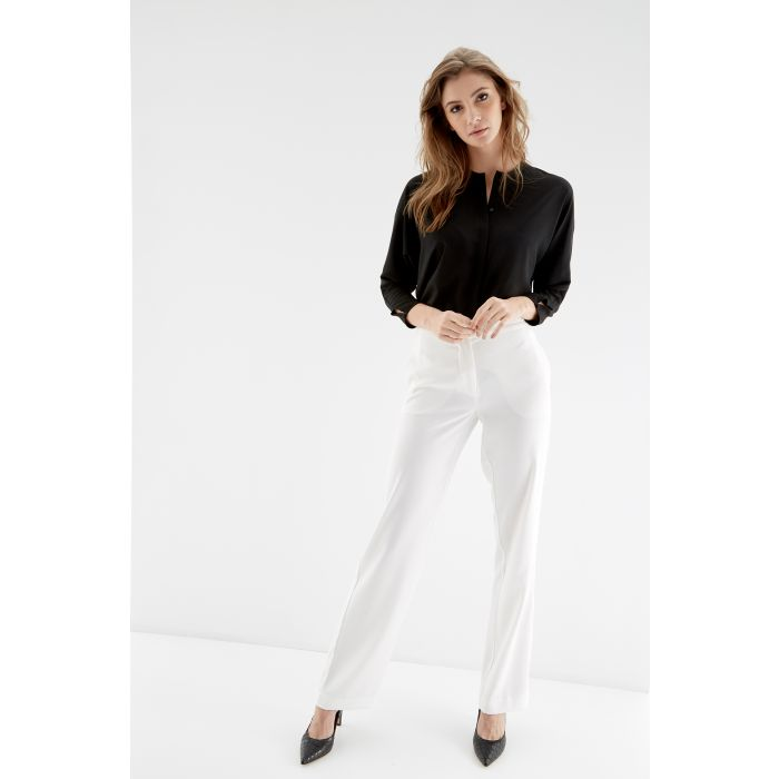 Image for Womens beige wide leg trousers