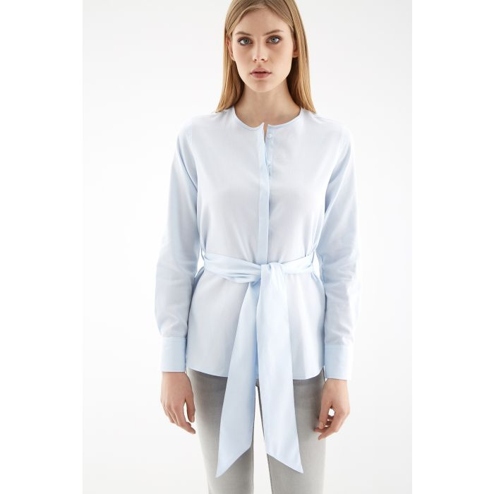 Image for Womens blue belted shirt