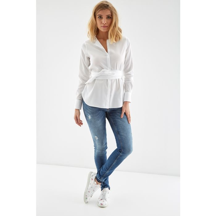 Image for Womens white belted shirt