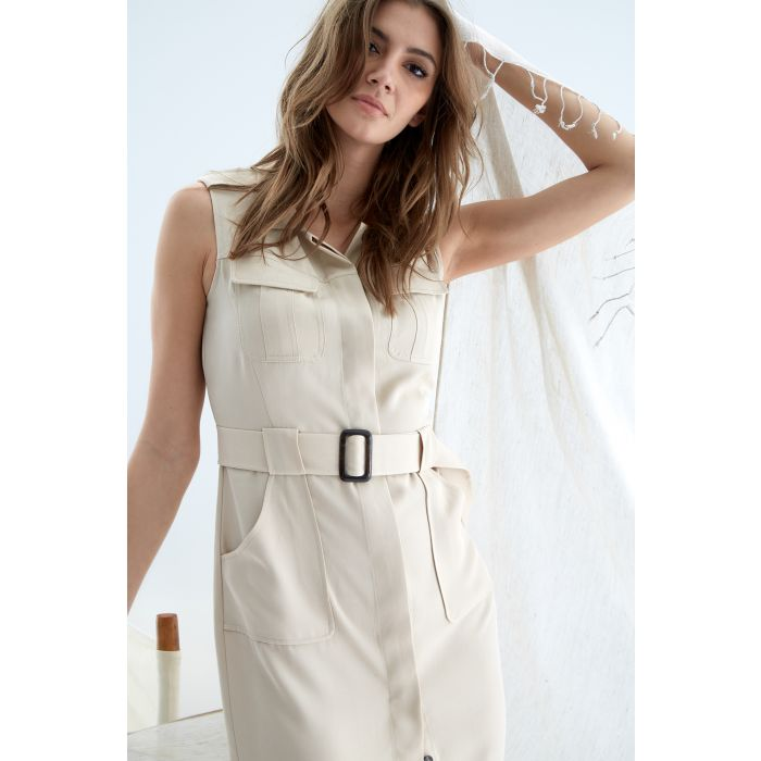 Image for Womens beige trench dress