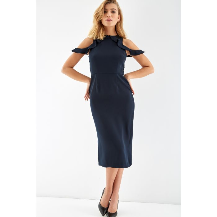Image for Womens blue off-the-shoulder midi dress