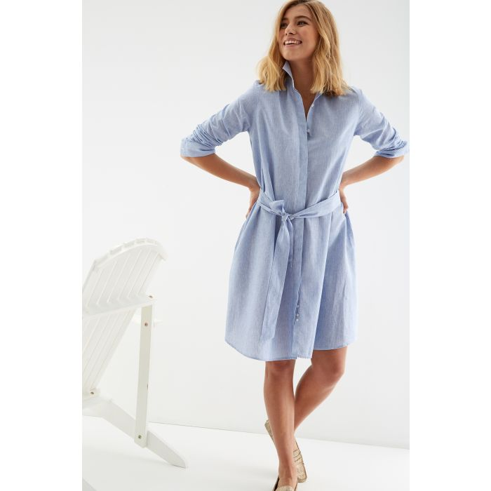 Image for Womens multi-coloured striped linen shirt dress