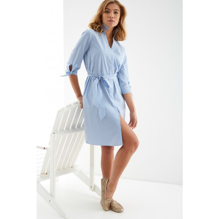 Image for Womens multi-coloured striped shirt dress