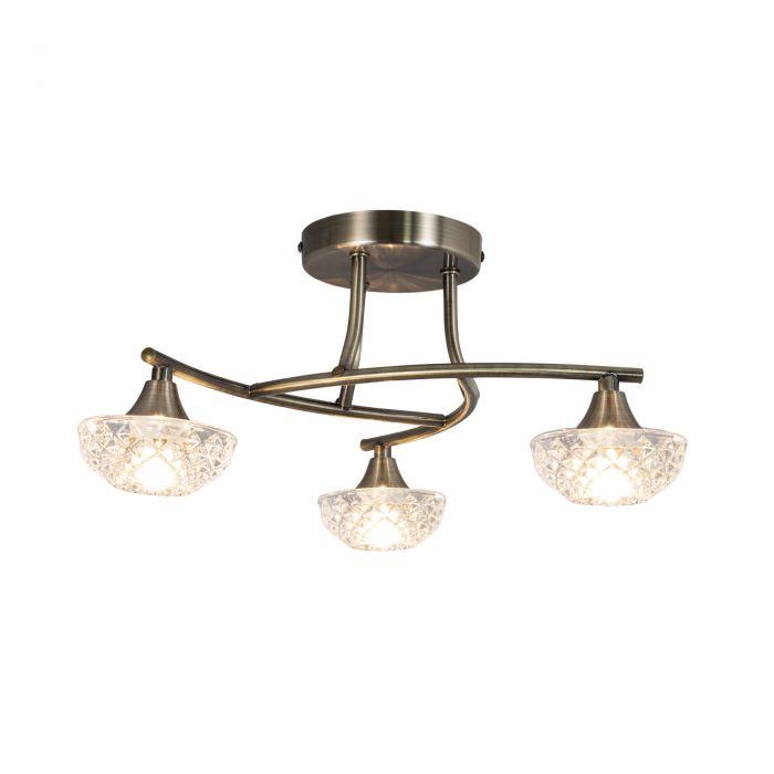 Image for Paine Antique Brass 3 Light Semi Flush Ceiling Light